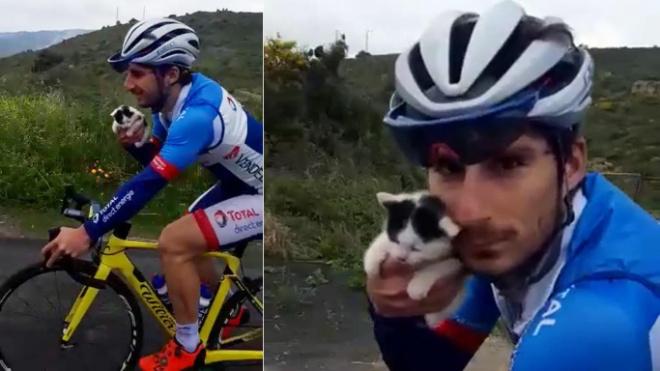 Итальянец целый час вел велосипед только левой рукой, ведь в правой был… котенок!