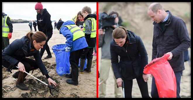 """""""Простые смертные"""": Кейт Миддлтон и Принц Уильям прибрались на пляже за намусорившими туристами"""