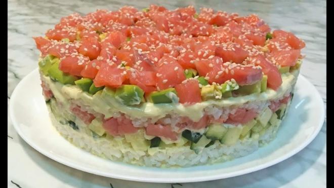 Салат «СУШИ». Красивый и вкуснейший — великолепно для праздника или просто чудесного дня