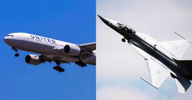 Boeing 777 летит прямо со скоростью 800 км/ч, когда внезапно приближается F-17