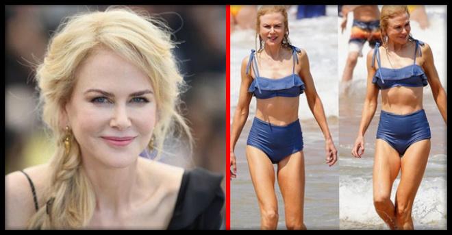 Папарацци огорчили поклонников 52-летней Николь Кидман ее пожухлыми пляжными фото