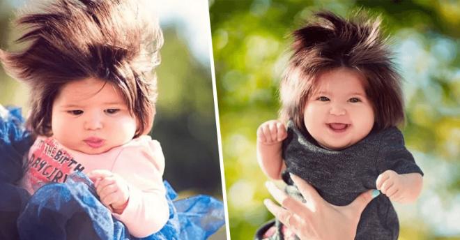 Маленькая звезда интернета: девочка в 5 месяцев обладает супер длинными волосами